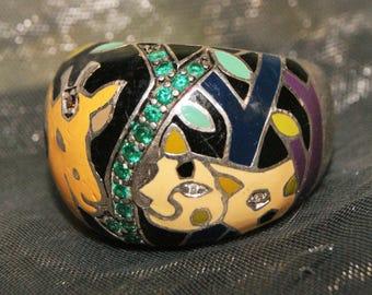 SAFARI BELLE ETOILE Sterling Enamel Ring c1970