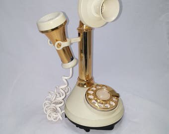 Vintage 1973 DecoTel Candlestick Telephone Model 203323-05 - vintage look, modern mechanics, ready to use in your vintage home