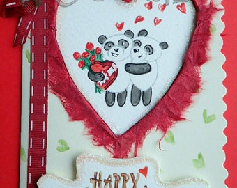 Handmade/Painted Panda Valentine's Card