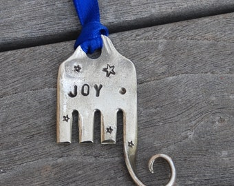 JOY hand stamped ELEPHANT ornament with Stars Blue Ribbon made from FORK