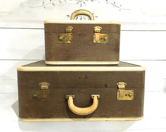 Vintage Tweed Suitcase Luggage Brown Tan Midcentury