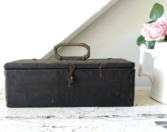 Vintage Box Leather Wood Storage Box Tool Box with Hinged Lid