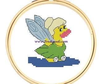 Duck Cross Stitch Kit, 'Pixie Duck', Cross Stitch Pattern, Counted Cross Stitch Kit, Cute Cross Stitch, Small Kit,