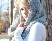 FLASH SALE the CHARLOTTE cowl - Chunky Cowl Scarf Shawl Hood - Silver Grey - limited