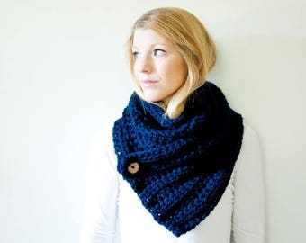 SPRING SALE The OXFORD - ribbed chunky crochet scarf button cowl scarf - navy