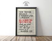 Harper Lee To Kill a Mockingbird Classic Literature Inspired Quote Print on Antique Unframed Upcycled Bookpage