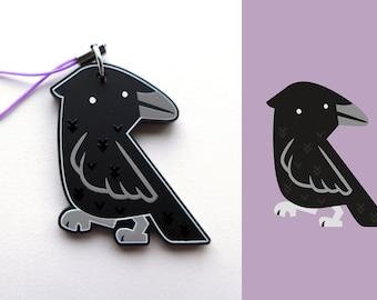 Acrylic Cute Black Crow Bird Charm Keychain with Phone Strap