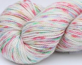 """Kettle Dyed Sock Yarn, Superwash Merino and Silk Fingering Weight, in """"Holiday Lights on a Rainy Night"""""""