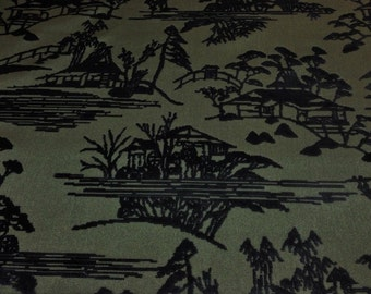 "Donghia Toyo Ink ""SANSUI"" Chinoiserie Asian Village Toile Cut Velvet Fabric - 10182-009 - Retails 320.00 yd - 5 yds - 20 YARDS AVAILABLE"
