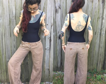Brown wide leg pants size 2 small pockets
