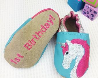 Personalised Unicorn 1st birthday gift - Unicorn Childrens slippers - First birthday gift - new baby gift - personalised baby gift