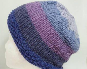 Purple Striped Shetland Wool Hat
