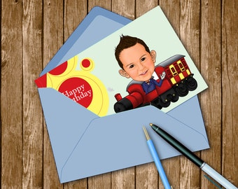 Gifts - Kids Birthday / Kids caricature / birthday party invitation card / unique personal birthday cards / Digital Print Caricature