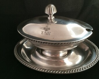 1943 Reed and Barton Silverplated Lidded Gravy Boat Fouled Anchor and USN Monogram   Wardroom Officers Mess Serving Dish