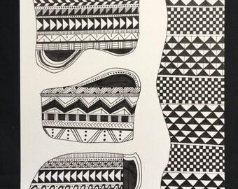 Cellular- Hand drawn, geometric shapes in black and white, geometric patterns, art, art print, illustration