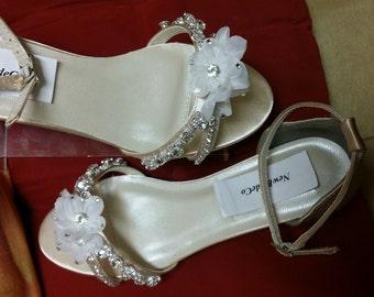 Bling Wedding Shoes Low Wedge 1 Heel Crystals Short HeelProm