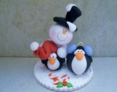 Snowman - Penguins - Polymer Clay - Christmas - Holiday Figurines