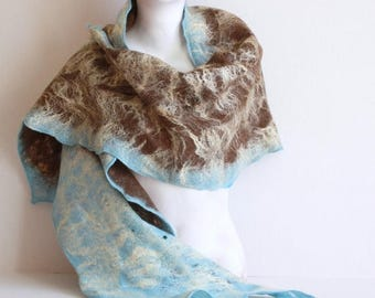 Women felted scarf cobweb felt wool silk shawl - brown blue