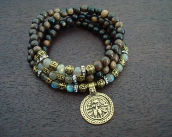 Women's Labradorite Shiva Shakti Mala // Choose a Charm // Yoga, Buddhist, Prayer Beads, Jewelry