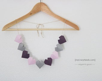 origami 3D heart garland | nursery garland | nursery decor || heart banner | heart bunting -DIY: you space the hearts