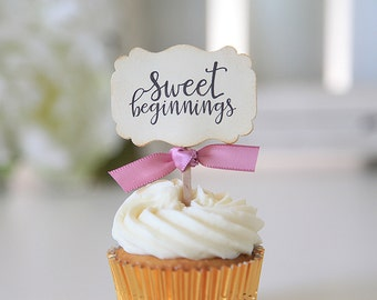 Sweet Beginnings Cupcake Toppers/Wedding Cupcake Toppers/Bridal Shower/Anniversary
