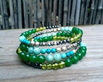 One Of A Kind Wrap Bracelet in Blue, Silver & Green
