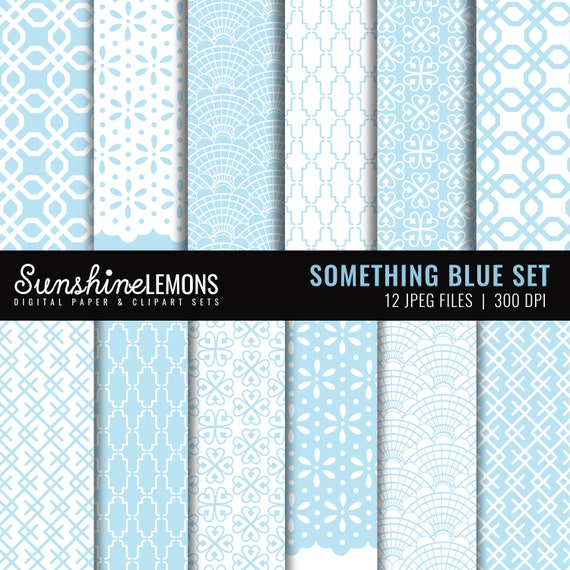 Something Blue Digital Scrapbooking Paper Set (12) - Light Blue and White Paper Set - COMMERCIAL USE Read Terms Below