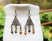 Colorful Bead Earrings, Beaded Jewelry, Chandelier Earrings, Long Earrings, Multicolored, Bohemian Earrings, Dangle Earrings, Hippie Jewelry