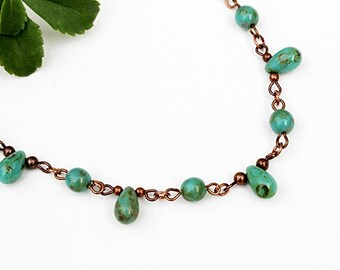 Green Bead Necklace, Gemstone Necklace, Beaded Jewelry, Short Necklace, Teardrop Necklace, Gift for Her, Beaded Necklace