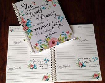 Scripture Prayer Journal, Bible Journaling, Journal, Christian gift, Scripture Journal, **Spring Floral**