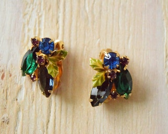 Vintage 1950's  Deep Blue and Green Rhinestone Earrings with Leafs | Clip on Earrings