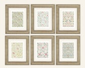 Set of 6 William Morris Pastel Botanical Wallpaper Archival Quality Prints on Watercolor Paper