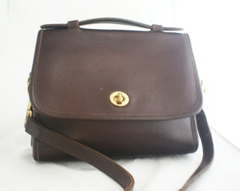 Purse- Brown Leather COACH court bag with Top Handle and shoulder strap #9870