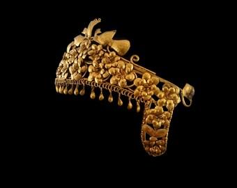 Antique Indonesian Golden Headdress, Exotic Tassels Cleopatra Tiara, Birds Flowers Headpiece, Egyptian Revival, Bohemian Dancer