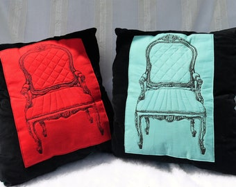 Decorator Pillows,set of 2 ,Upcycled Cloth Napkins Couch Pillows, Chair Print Throw Pillows, Upcycled Pillows, Pillows,Living Room Pillows