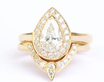 Third Eye Pear Diamond Engagement Ring with Matching Side Band, Solid Gold Rings Bridal Set, Natural Diamond Rings for Women, Art Deco Rings