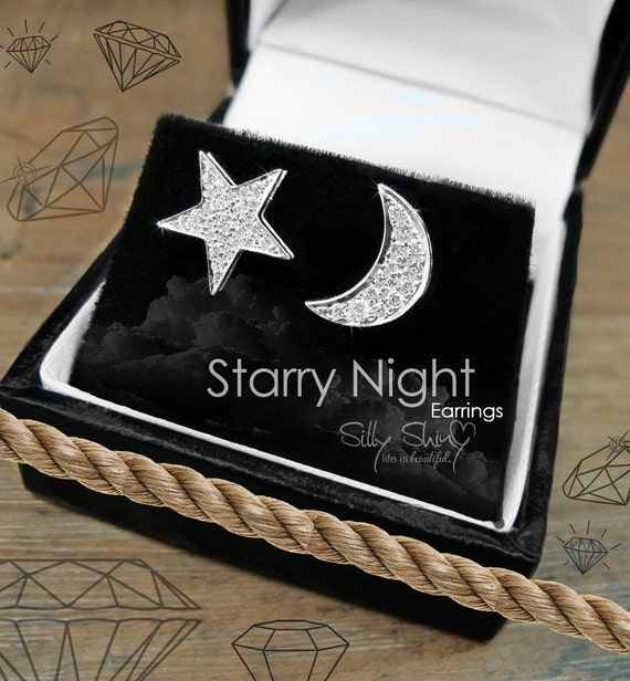 Starry Night Earrings, Gold Stud Earrings, Diamond Studs, Moon Earrings, Bridal Earrings, Star Earrings, Diamond Stud Earrings.