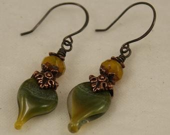 Peddling Away--Leaf Lampwork Headpin Earrings   676