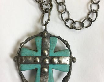 """Molten Soldered Howlite Turquoise Blue Cross Pendant Necklace on 30"""" Gunmetal linked Chain NECKLACE"""