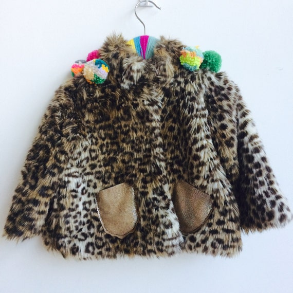 SHOW 1-2 Years Baby Kids Faux Fur Jacket Top with Pom Pom trim Unisex