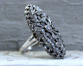 Gorgeous Large Leafy Open Work 18K White Gold Ring - 1.66ct.