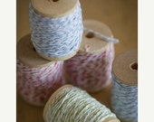 CLEARANCE SALE 25 yards Colored Bakers Twine on a Wood Spool - Choose blue, green or orange cotton twine