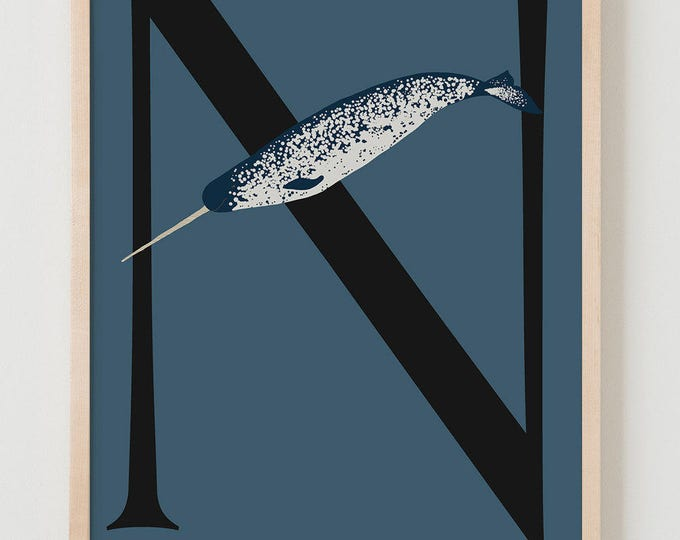 Animal Alphabet, N is for Narwhal Fine Art Print