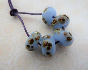 handmade lampwork blue raku frit beads, UK set