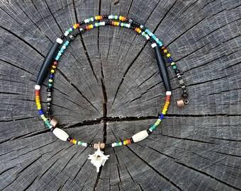 "20"" bone & beads necklace. snake vertebra."