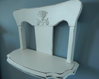 Shabby Wall Shelf - Hanging Wall Shelf - White Curio Shelf - Painted Wall Shelf - Chair Back Shelf - Antique Wall Shelf