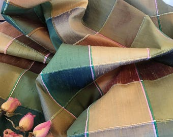 SILK Dupioni Check Dimensional Lines. Green, Tan Multi 2 1/2 Inch Squares. 100 Percent Silk. Medium Weight Beautiful Check Heavy Slubbing.