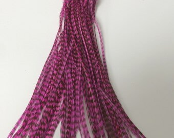 100 Metz Rooster Grizzly Feathers - Dyed Pink