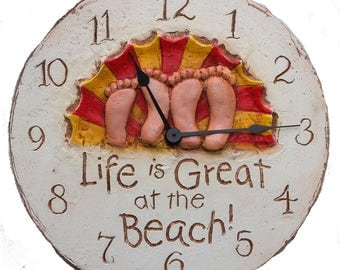 Life is Great at the Beach wall clock