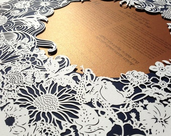 Wonders of Sea & Tree papercut ketubah | wedding vows | anniversary gift